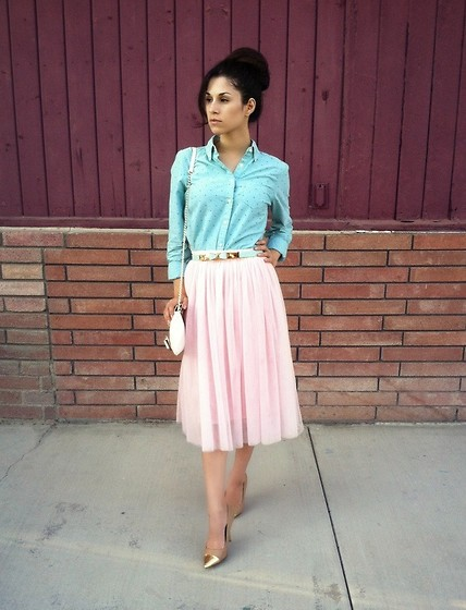 Stephanie Rami - Jcp Button Up Blouse, P.Kid Chicks Pink Tullquet Skirt, Worthington Nude Heels, Lulu Guinness White Bow Purse, Pkidchicks Mint Bow Belt - Sweet bows in pink fluff