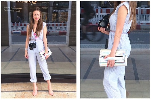 Joanna Vi - Primark Silver Clutch, Second Shop Striped Overalls - BFW 1 -  Overalls