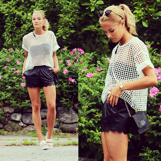 Petra Karlsson - Shoes, Romwe Shorts, Top, Glasses, Michael Kors Watcjh - Cut out top + (I'm on youtube)