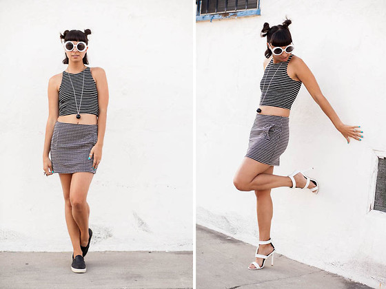 Chanelle L.™ - American Apparel Crop Top, Steve Madden Perforated Slip Ons, Motel Rocks Skirt, Shoedazzle White Heels - Heels or flats?