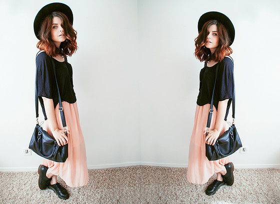 Sabina Olson - Loose Tee, Sheinside Pink Maxi Skirt, Dr. Martens Drmartens - Over my dead body #144