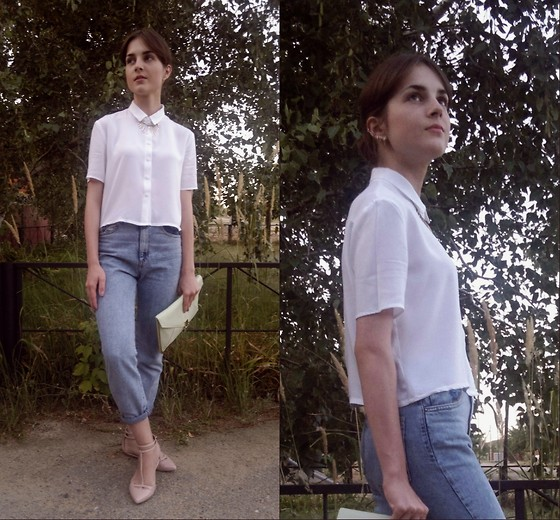 Anastasia M - H&M Shirt, Bershka Vintage Jeans, Stradivarius Shoes, Asos Bag - Blue jeans, white shirt