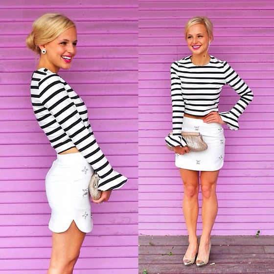 Lauren Vandiver - River Island Top, Gianni Bini Skirt, Zappos Clutch, Chinese Laundry Heels, Kendra Scott Earrings, Maybelline Lipstick - SPARKLE AND STRIPES