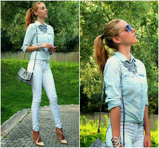 Pearls and Roses - Mango Denim Shirt, Zara Statement Necklace - Cool Neutrals