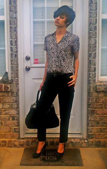 Huntress W. - Thrifted Button Up, Target Ankle Crop Pant, Saint Laurent Bag, Guess? Pumps - Do You Know?