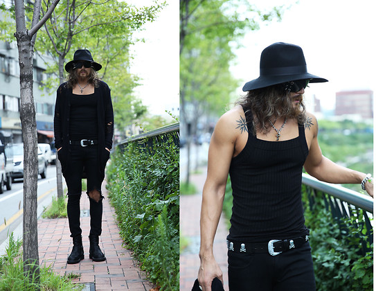 INWON LEE - Hard Fedora, Silver Skull Chained Necklace, Silver Chained Bracelet, Silver Skull Studded Belt, Byther Black Ripped Jeans, Byther Black Loose Cardigan, Byther Black Tight Tank Top, Byther Faux Leather Boots - Batman in a Gothic Look