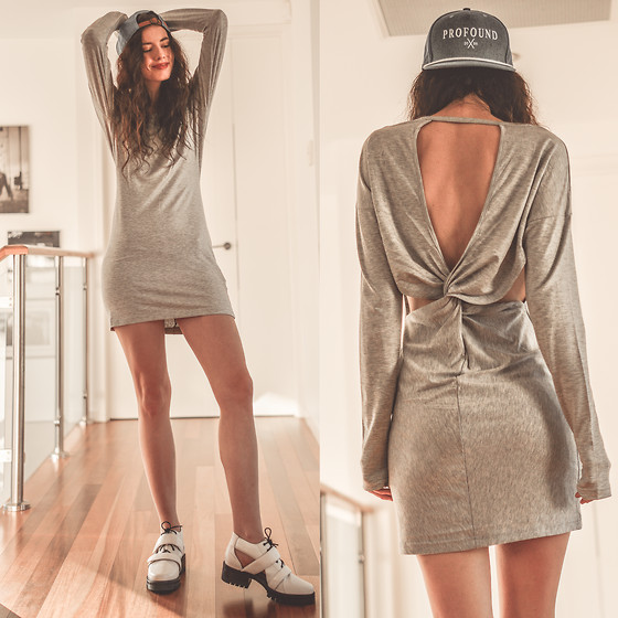Elle-May Leckenby - Staple Grey Marle Twist Long Sleeve Dress, Profound Aesthetic The Blue Denim Strap Back Hat, S E N O Senso Daria Boot - Basic twist