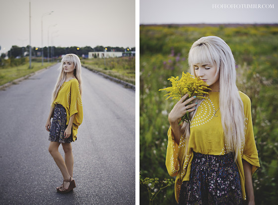 Natalie Elmo Feo - Bershka, H&M Skirt - Yellow day