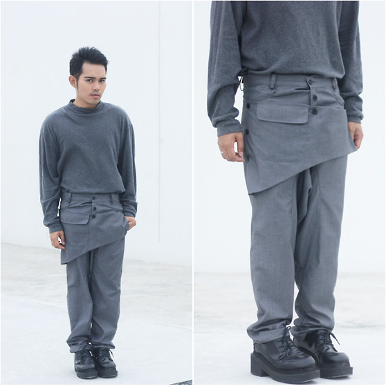 Karl Philip Leuterio - Balenciaga Sweater, Vero Moda Trousers, Jeffrey Campbell Derbies - Grey Uniform