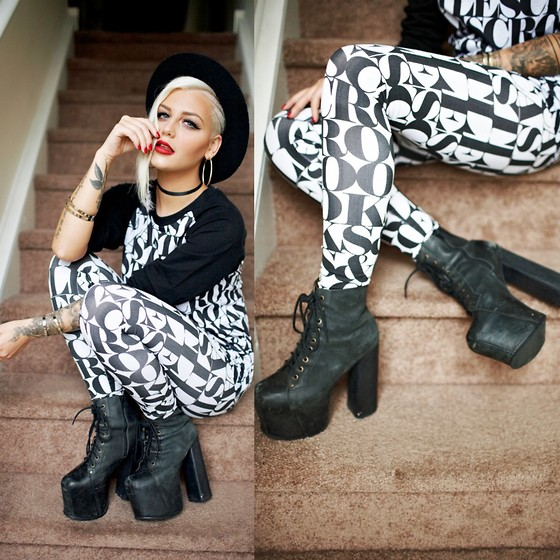 Samii Ryan - Crooks N Castles Shirt, Crooks N Castles Leggings, Jeffrey Campbell Shoes, By Samii Ryan Accessories, Forever 21 Hat - All Up On My Stairs