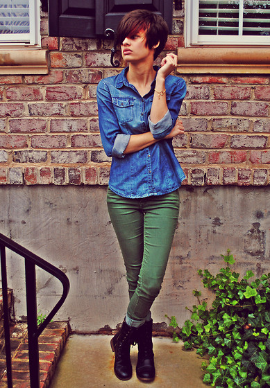 Huntress W. - H&M Denim Shirt, Diy Bracelet, H&M Jeans, Target Boots - Honesty