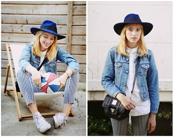 Typhaine - Catarzi Hat, Levi's® Jacket, Vintage Bag, &Otherstories Shirt, Object Collectors Item Pants, Sarenza Shoes - Striped pants