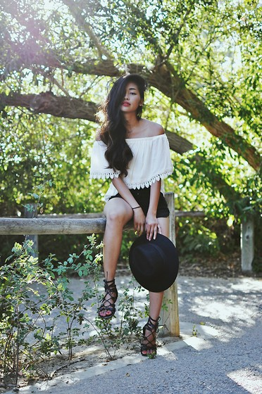 Heliely Bermudez - Lush Juliette Top, Forever 21 Lace Up Sandals - Small Adventures