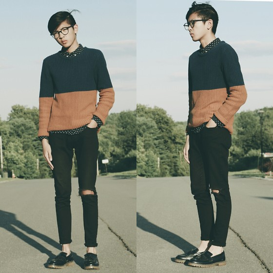Jordan L - Urban Outfitters Sweater, H&M Shirt, H&M Jeans, H&M Loafers - Colorblock and Polka Dots.