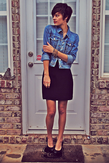 Huntress W. - Levi's® Denim Jacket, Thrifted Bracelets, Express Skirt, Guess? Heels - Your House