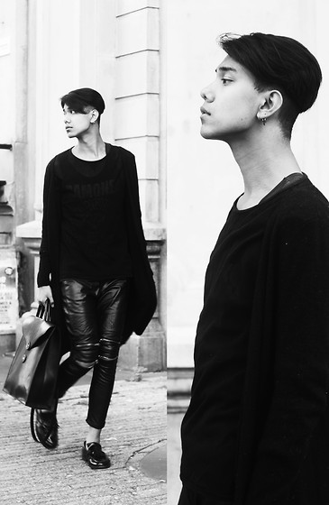 John Setrodipo - H&M Long Black Cardigan, Zara Sheer Top, Zara Leather Pants With Zipps, Asos Loafers, Asos Leather Bag - Romantic Black