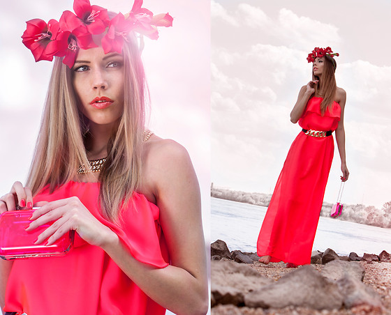 Dora D. - Nelly Neon Red Long Dress, Transparent Bag, Hand Made Gladiolus Crown - GLADIOLUS