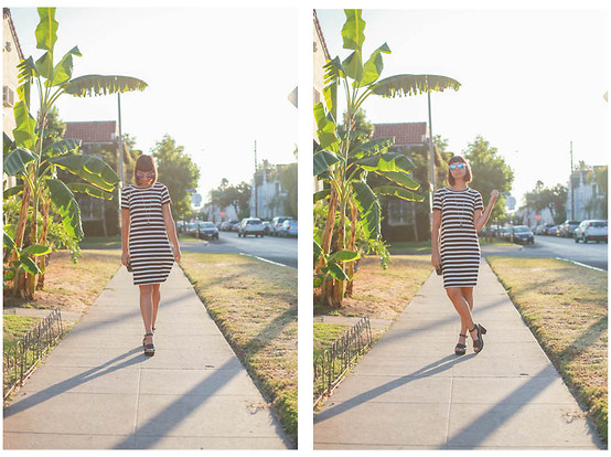 Chanelle L.™ - Uniqlo Stripe Dress, Penelope's Vintage Mirrored Sunglasses/Frogskins - UNIQLO Video Shoot