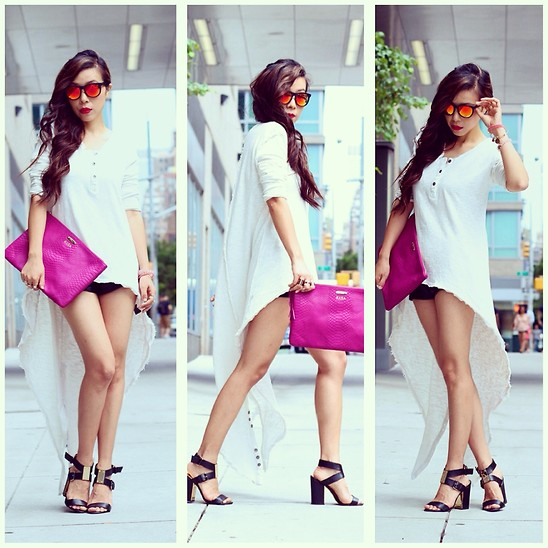 Sasa Zoe Sunglasses Clutch Sandals Shorts Top Shall We Sasa Truly Madly Deeply High Low Lookbook