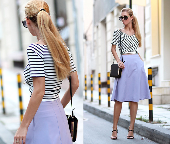 Sirma Markova - Stylemoi Striped T Shirt With Twisted Front, Mohito Midi Skirt, Persun Sandals, Stylemoi Acrylic Panel Clutch - Midi Length
