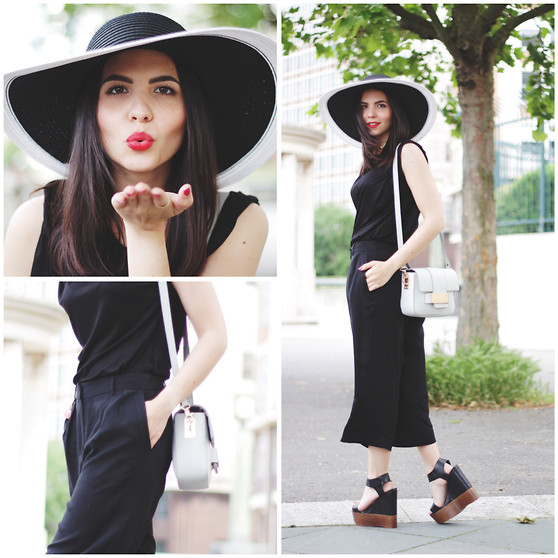 Jasmin - Reiss Hat, H&M Bag, & Other Stories T Shirt, Mango Culottes, Aldo Wedges - Back To Black