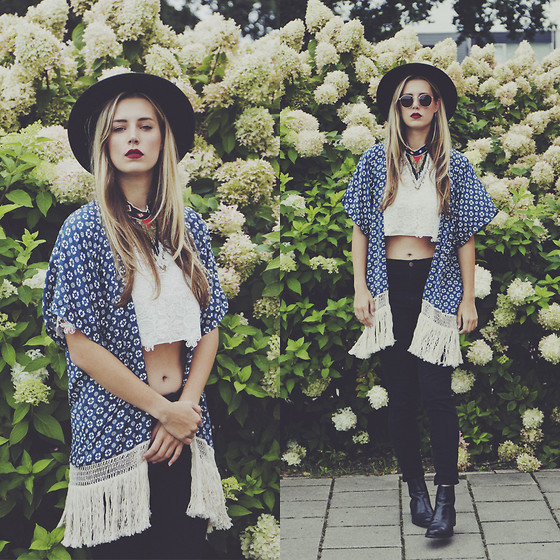Jamie L ♡ - Oasap Kimono, Forever 21 Top, Forever 21 Jeans, Sacha Necklace, Ikhebeenbril.Nl Sunglasses, Melvin & Hamilton Boots - LET'S ADMIRE THE STARS DECORATING THE NIGHT SKIES