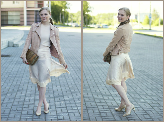 Sandra Saimon - Mango Suede Jacket, United Colors Of Benetton Pullover, Covani Nude Pumps - My way satin silk