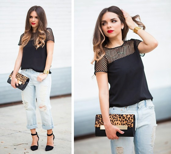 Daniela Ramirez - Gap Jeans, Nine West Shoes, Nine West Leopard Clutch, Agaci Tpp - A litle bit of mesh...