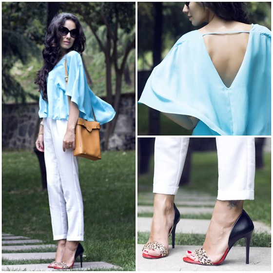 STYLEBOOM B - Berrin Eser İstanbul Silk Top, Manu Atelier Handmade Leather Bag, Tom Ford Oversize Sunnies, Styleboom For Capsule Collection Tricolor Pumps - Purely