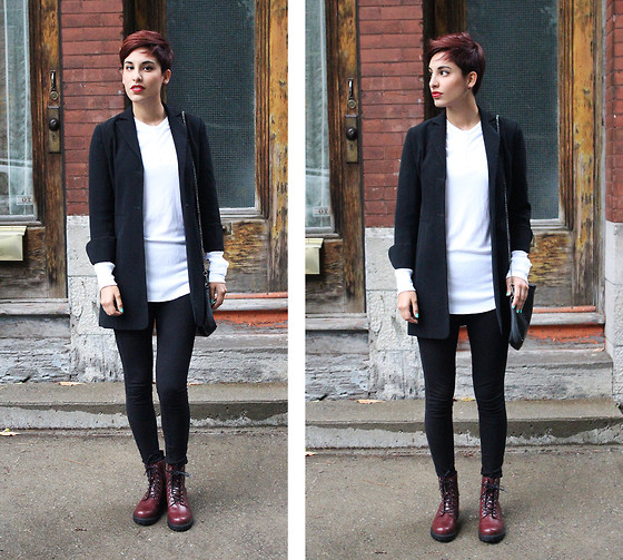 Adriana Seminario - Mango Black Purse, American Apparel White Tee, Salvation Army Vintage Blazer, H&M Burgundy Combat Boots - Once upon a time in Montréal