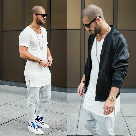 Kosta Williams - American Apparel Bomber Jaket, Lvrs & Frnds Viskose Double Shirt, Lvrsnfrnds Jogger, Raf Simons Velcro - Cozy days