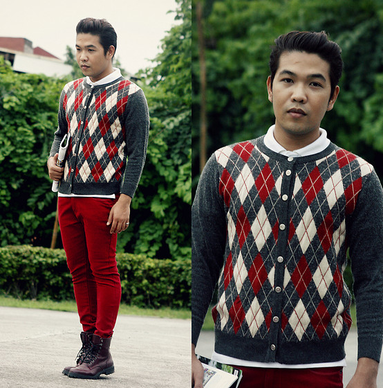 John Roy Agcaoili - Sweater, Red Pants, H&M Divided Boots, White Polo Shirt - Bloody Mary