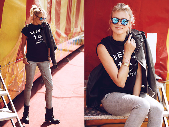La Leonella - Defend T Shirt, & Other Stories Glasses, Rockgewitter Leatherjacket, Mjus Boots - Defend ... open your mind!!!!