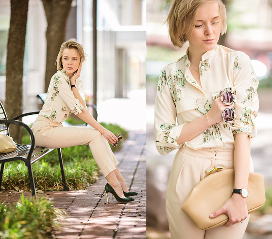 Darya Kamalova -  - BEIGE OUTFIT IN DALLAS: CLASSY, RETRO AND EDGY