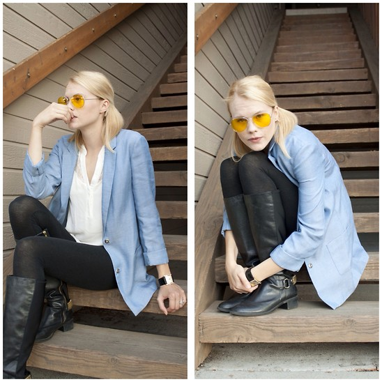 Nava J - Search For Sanity Blue Blazer, Chelsea28 Blouse, Steve Madden Boots - Lemon Tint