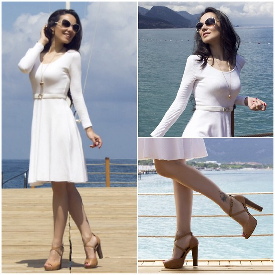 STYLEBOOM B - Polo Garage Long Sleeve Dress, Tom Ford Shades, Tosca Blu Chunky Heels - American Hustle