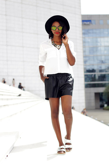 Stephanie C - H&M Shirt, H&M Leather Short, Birkenstock Sandals, Balsamik Necklace - Leather short