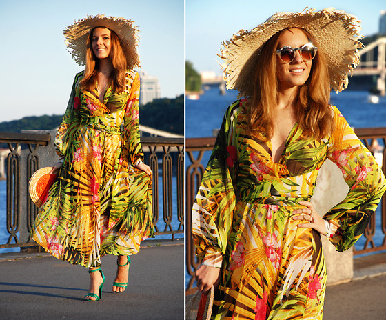 Iren P. - Sheinside Palm Print Sheer Maxi Dress, Kira Plastinina Huge Straw Hat, Asos Nude Round Sunglasses, Green Heeled Sandals, Straw Clutch, Pack Of Rings With Chains - TAKE ME TO THE PARADISE