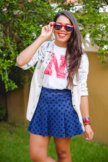 Nydia Enid - Sunglass Warehouse Red Sunglasses, Zara Polka Dot Skirt - N is for Nydia