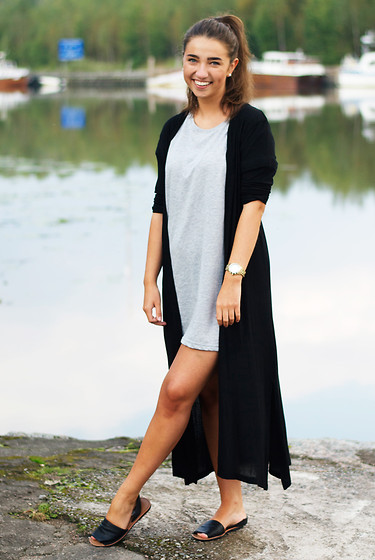 Mirella T. - H&M T Shirt Dress, Lindex Maxi Cardigan, Dinsko Sandals, Dkny Watch - It's probably just a t-shirt, and not a dress.