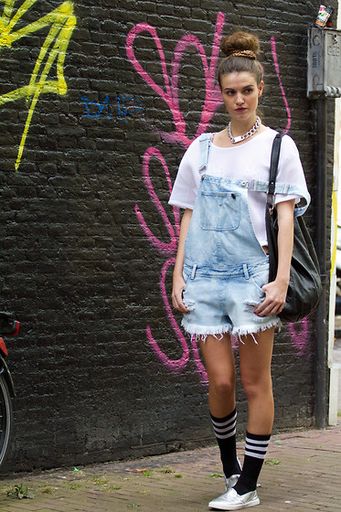 Michelle Verpuggi - Dungaree, Frontrowshop Socks, H&M Top, H&M Necklace, Primarkt Shoes - Stay true boy
