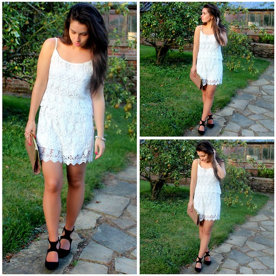 Holly Court - Celeblook Playsuit, Peacocks Heels - White Lace