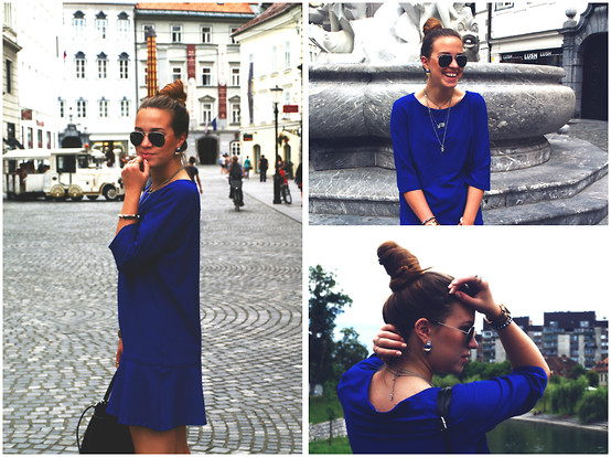 Braidsandeyeliner - Promod Blue Dress, Stradivarus Bracelets, Stradivarius Necklaces, Michael Kors Watch, Ray Ban Sunglasses - Blue Confessions