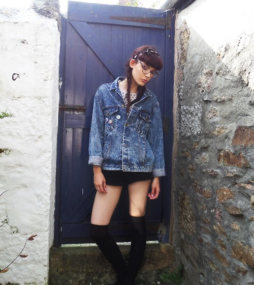 Izzy Humphreys - Forever 21 Corduroy Shorts, Vintage Over Sized Denim Jacket, Topshop Collar Crop Top, Ebay Knee High Socks - Baby, look at me now, I have come so far