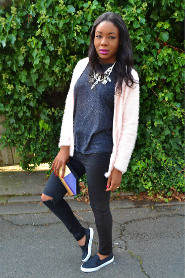 Laura C - Pimke Necklace, H&M Jacket, River Island Torn Jeans, Office Slip Ons - Fluffy jacket // StylishVue