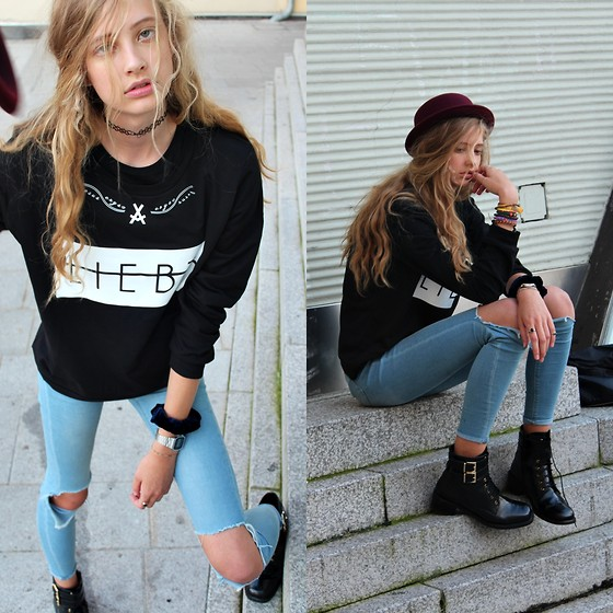 Emma S - Jesus Crysd Black Printed Sweatshirt, Asos Ripped Jeans, Asos Leather Boots - SHADY BABY I'M HOT