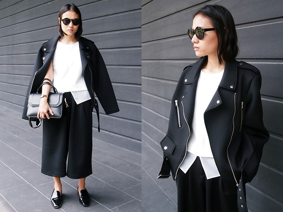 Rachel Eng - Fashion To Any Neoprene Moto Jacket, Asos Scuba Wide Leg Culottes - Another Chapter Opens