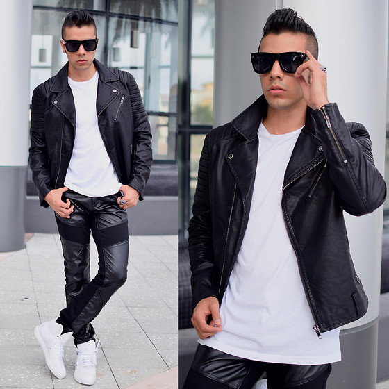 Franko Dean - H&M Biker Jacket, Vintage Synthetic Trousers, Adidas High Tops C10, H&M White Tee, Lanvin Sunglasses - Monochrome Look