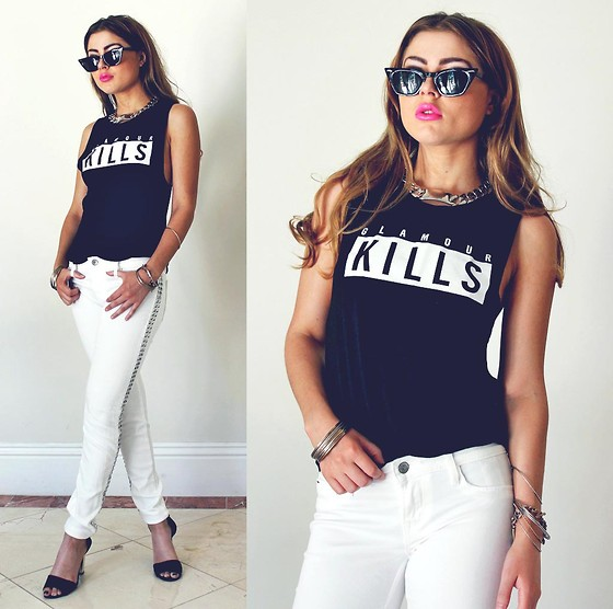 Bebe Zeva - Glamour Kills Mischief Muscle Tee In Black, Cult Of Individuality Teaser Skinny Jeans In White, Zerouv Cat Eye Rocker Sunglasses - Rock Stud
