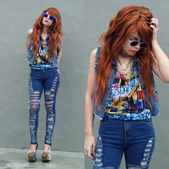 Priscila Diniz - Graffiti Top, Jeans, Denim Vest, Chained Necklace > Similar, Sunglasses > Similar - Graffiti